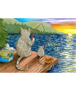 ACEO art print Cat #395 mouse fishing by Lucie ... - $4.99
