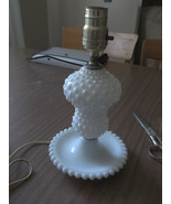 Vintage Hobnail Milk Glass Table Lamp 11