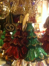 department 56 Red or green w gold glitter blown... - $24.74