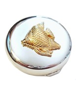 Double Mirror Compact Fish Design Two Toned Sil... - $16.99