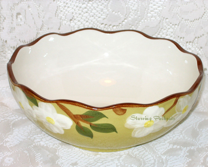 "Stangl Pottery White Dogwood 8"" Vegetable Serving Bowl"