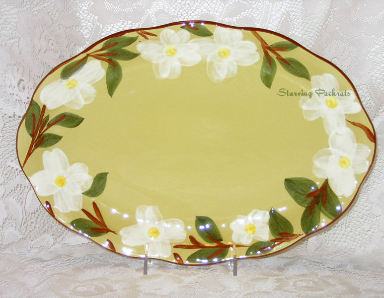 Stangl Pottery White Dogwood Oval Serving Platter