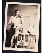 Old Vintage Antique Photograph Man Drying Dishe... - $7.13