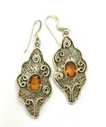 Handmade Honey Quartz 925 Sterling Silver Earrings - $19.19