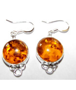 Sterling Silver Genuine   Baltic Amber    DANGL... - $27.99