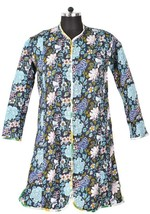 XL Long Jacket Cotton Printed Quilted Coat Indi... - $37.05