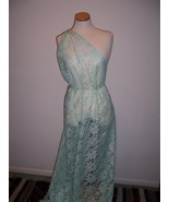STUNNING PALE MINT GREEN SPARKLED LACE FABRIC P... - $24.00