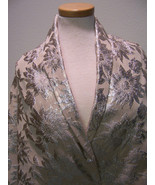 HAUTE COUTURE FRENCH SILK METALLIC FLORAL BROCA... - $200.00
