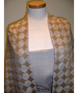 COUTURE WOOL FABRICS BEIGE WHT GLEN PLAID W/ BE... - $375.00
