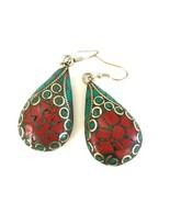Handmade Tibetan 925 Turquoise and Coral Earrings - $12.79