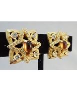 Hattie Carnegie Faux Topaz Cabochon Couture Ear... - $110.00