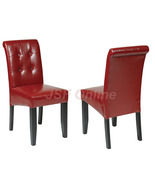 Crimson Red ECO Leather Dining Table Parsons Ch... - $89.99
