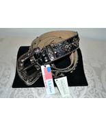NWT $255 BB Simon Wide BLACK Leather Belt Fleur... - $113.58