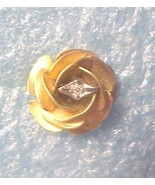 Petite Gold filled Rose with diamond chip earri... - $10.00