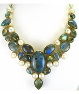 Elegant Stormy Blue Flash Labradorite with Pear... - $429.12