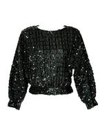 Caron Chicago Black Sequin Top Evening Wear Hol... - $49.99