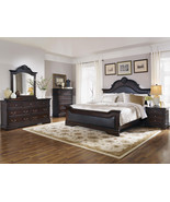 CALAIS-5pc TRADITIONAL BROWN FAUX LEATHER QUEEN... - $1,545.86