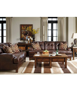 FELIPE - MODERN REAL BROWN LEATHER SOFA COUCH L... - $2,078.75