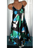 Black Green Blue Abstract Chemise Short Gown 1X... - $12.50