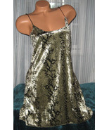 Snake Reptile Print Chemise L Faux Pearl Straps... - $13.88