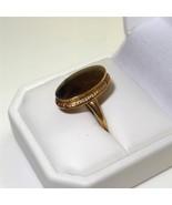 Vintage c1950 10K Gold Signet Ring Tiered Oval ... - $167.31