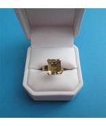 Vintage c1930 14K Gold Emerald Cut Citrine Ring... - $196.02