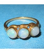 Antique Victorian 14 Gold Triple Opal Ring Beze... - $345.51