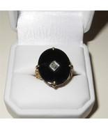 Antique Art Nouveau 14K Gold Onyx and Diamond R... - $543.51