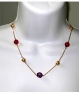 Macy's Crystal Station Necklace Jeweltone Color... - $12.86