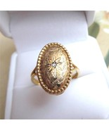 c1920 14K Gold Hand Chased Ring Diamond in Burs... - $266.31