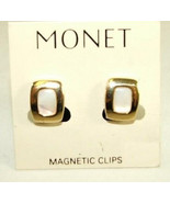 Monet Button Magnetic Earrings Mother of Pearl ... - $14.84