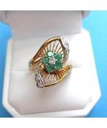 c1950 14K Gold Emerald Diamond Ring Modernist  ... - $375.21