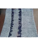 Hand Filet Crochet/Woven Fabric Afghan,  Navy a... - $22.00