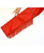 Red Leather Pants w Fringes Country Western Bik... - $150.00