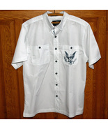 Harley Davidson White Woven Dress Shirt Men's Short Sleeve Large USA Made