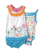 Baby Girl 3 Piece Bright Aqua Orange White Dais... - $19.99