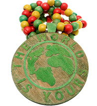 Green Wooden The World Is Yours Beaded Necklace - $13.75