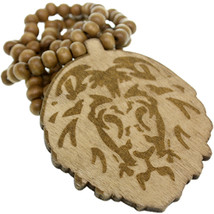 Light Brown Wooden Lion Head Beaded Necklace - $13.00