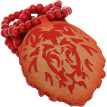 Red Wooden Lion Head Beaded Necklace - $13.00