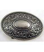 Belt Buckle Large Oval Floral Silver Tone Women... - $20.00