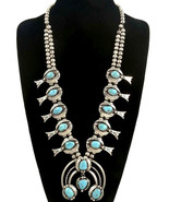 Vintage 60s Old Pawn Navajo Turquoise SQUASH BL... - $2,028.51