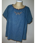 Fashion Bug Blue Jean Womens 26/28 Top with Flo... - $14.00