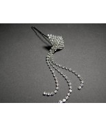 Rhinestone Hair Pin Dangling  Crystals Silver P... - $7.99