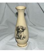 Porcelain Bud Vase Puppy with Flower Gold Trimm... - $14.46