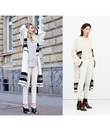 ZARA 2015 LONG COAT KNIT JACKET CARDIGAN ECRU W... - $99.99