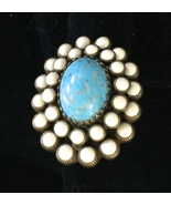 Turquoise and White Enamel Oval Ring - $22.40