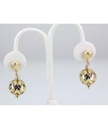 Vintage gold tone filigree Christmas ball ornam... - $12.00