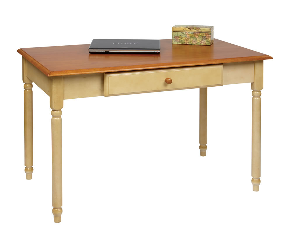 wood cherry country buttermilk finish computer writing desk w drawer desks home office. Black Bedroom Furniture Sets. Home Design Ideas