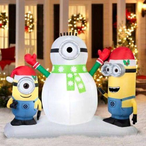 Me minion snowman holiday decorations xmas best yard decor