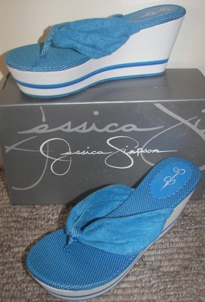 Jessica Simpson Blue Sandals Shoes Thongs Wedges size 8